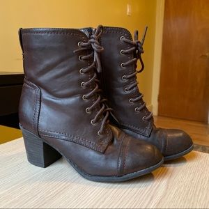 Bamboo | Brown Leather Lace Up Booties | Size 7